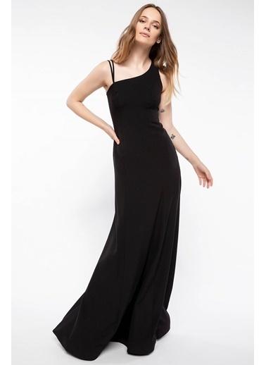 DeFacto Omuz Detaylı Abiye Elbise Siyah